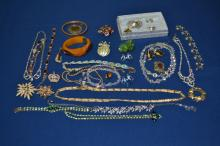 Collection of rhinestone, bakelite and crystal costume jewelry
