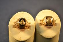 Two 10k yellow gold school rings, 12.3dwt