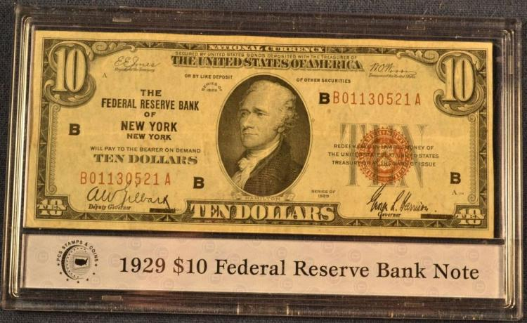 1907 Us 10 Gold Certificate 1929 Us 10 Federal Reserve Ba