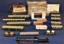 Collection of Marklin HO gauge trains, cars, Sears transformer and track