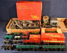 Tri-ang Railways operating mail coach set with two locomotives, cars, transformers, track