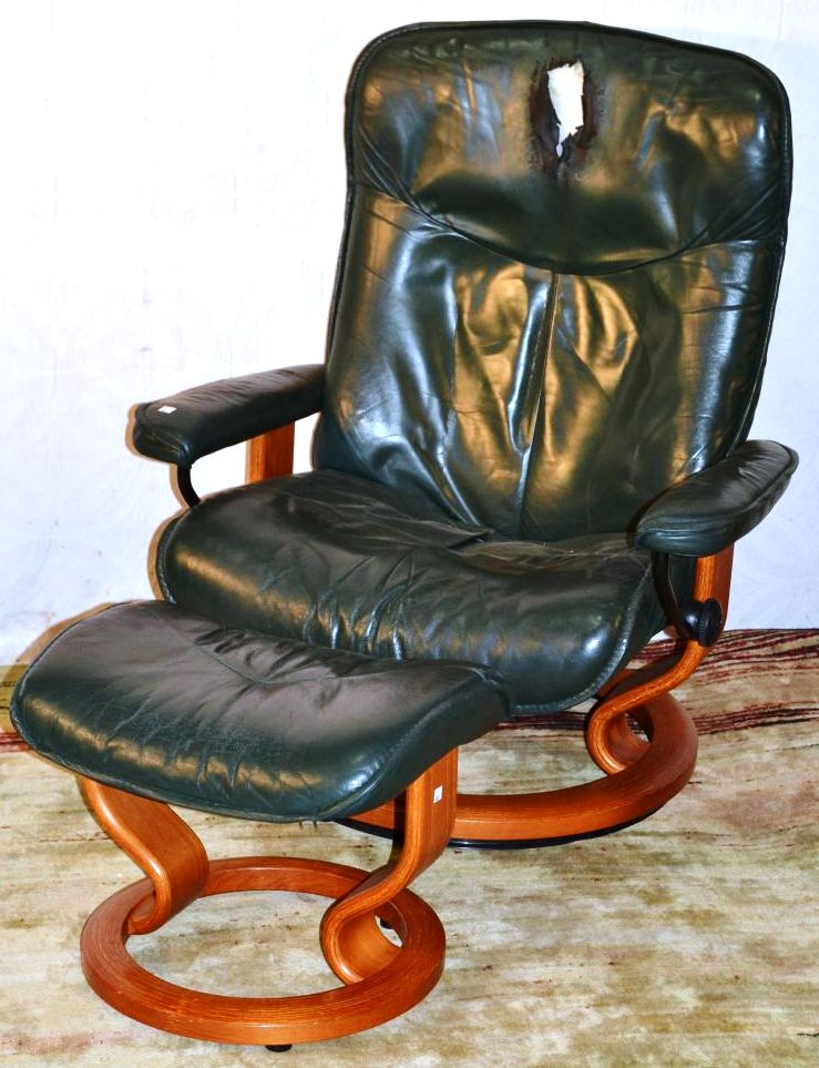 Peachy J E Ekornes Norway Green Leather Stressless Recliner And Ocoug Best Dining Table And Chair Ideas Images Ocougorg