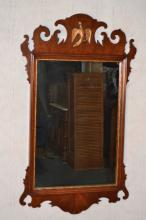 Mahogany Chippendale style wall mirror with rook decoration