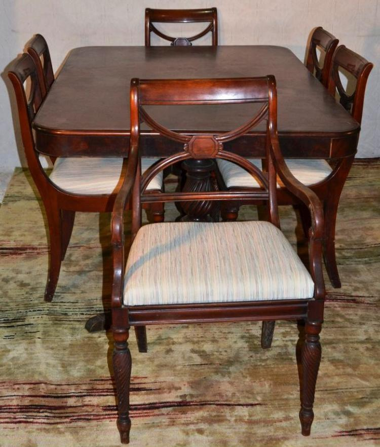 Mahogany Federal Style Double Pedestal Dining Room Table And