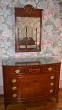 Mahogany inlaid Federal style four drawer dresser with wall mirror and glass top, veneer loss