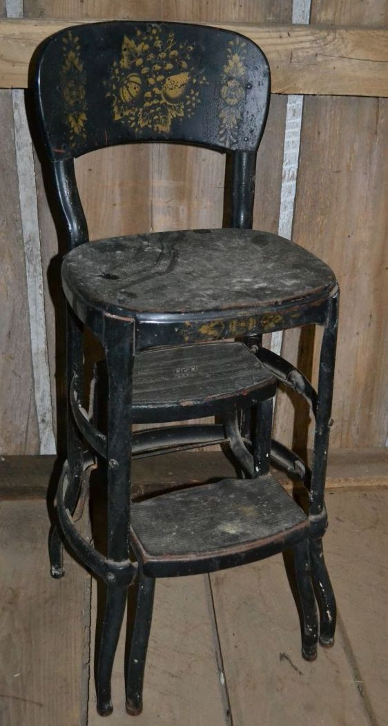 Old Cosco Black Painted And Stenciled Metal Step Stool
