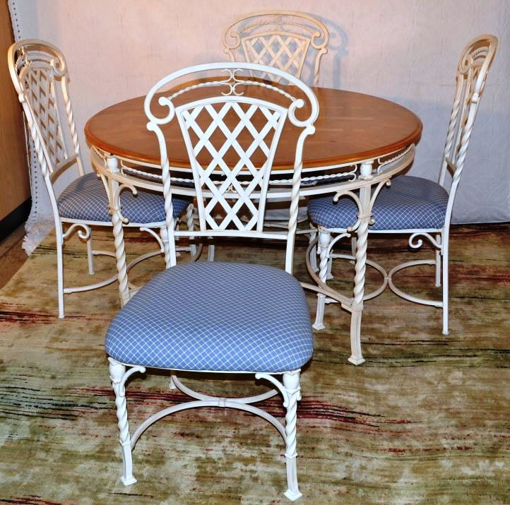 white painted wrought iron and maple top round kitchen table. Black Bedroom Furniture Sets. Home Design Ideas