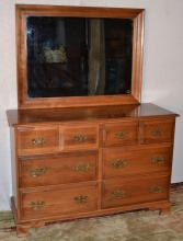 Maple double dresser with mirror