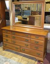 Maple 11 drawer double dresser with mirror