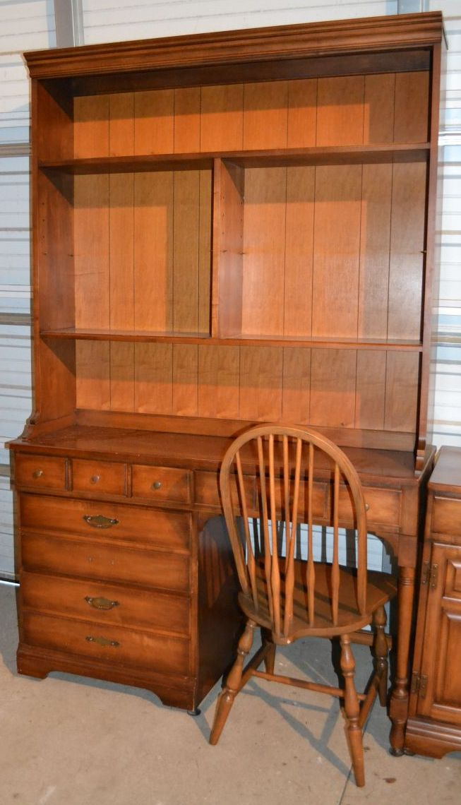 Pennsylvania House Cherry Desk With Bookshelf Top And Chair