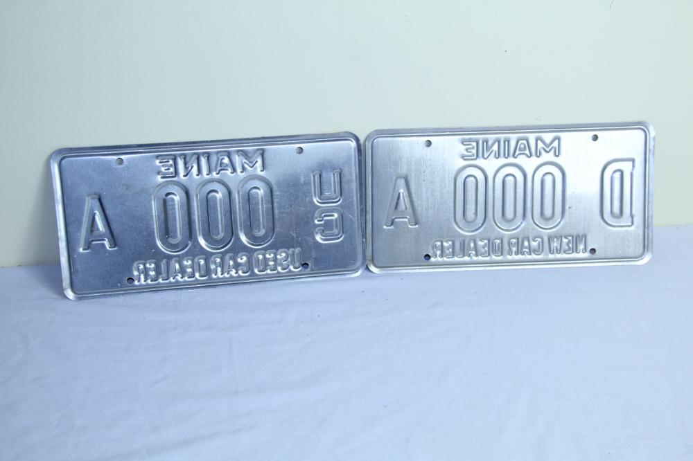 Pair of Maine Dealer 3 digit license plates