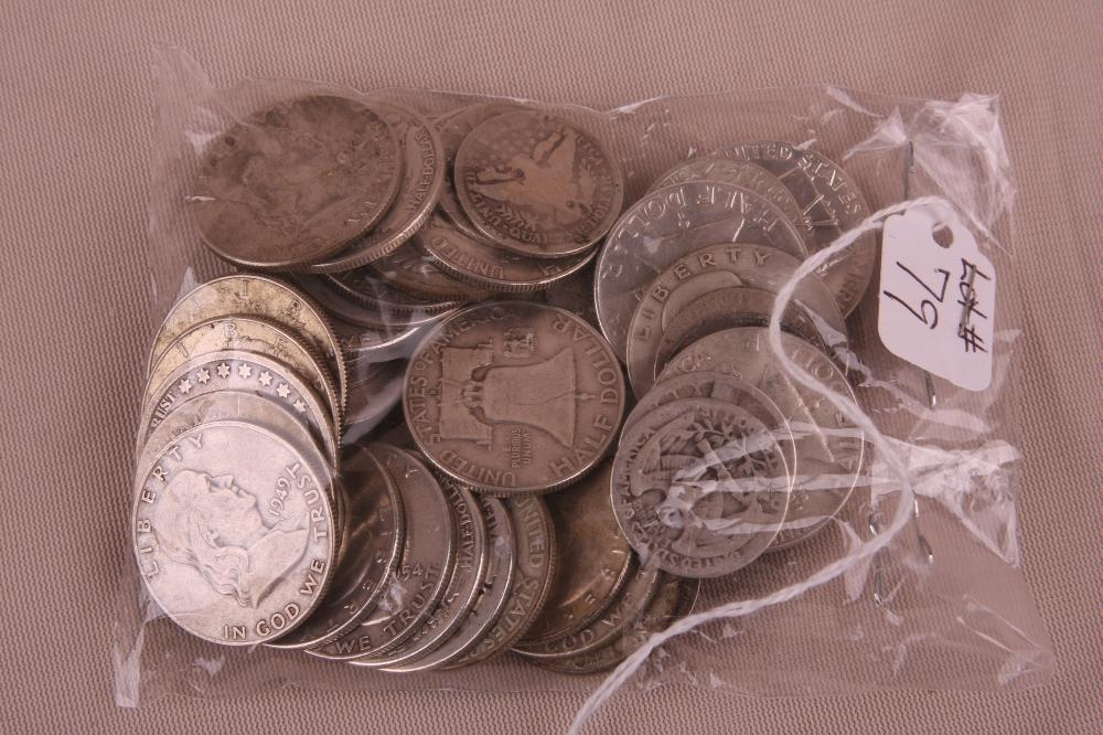 20 DOLLAR FACE VALUE MISC DATED 90 % SILVER HALF-DOLLARS AND QUARTERS