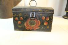 Beautiful early tin tole box