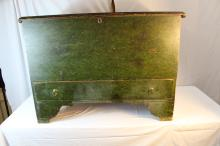 Beautiful green paint decorated blanket chest