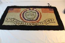 1918 American flag hooked rug