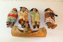 Beautiful lot of 7 Skookum Indian dolls by Bully Good