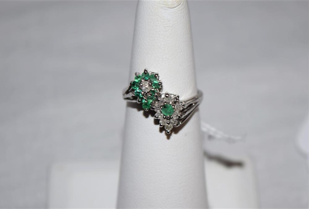 Estate Diamond and Emerald 14K Gold Ring