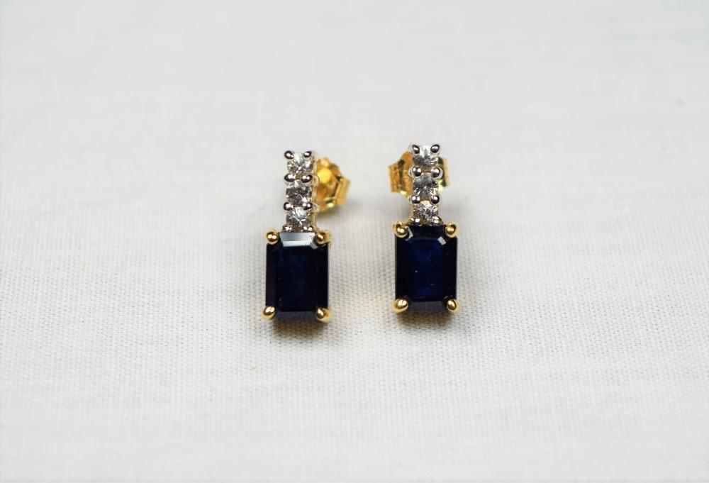 Estate 14K Yellow Gold Sapphire and Diamond Earrings