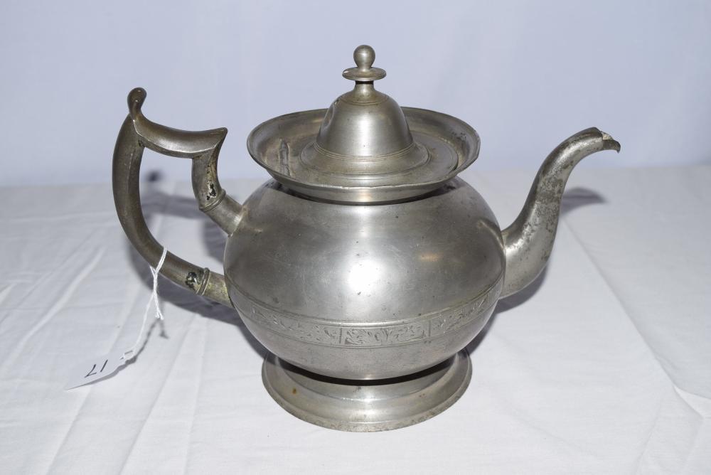 Vintage Pewter Tea Pot by Israel Trask