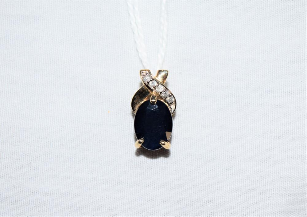 Estate 14K Yellow Gold Pendant with Sapphire