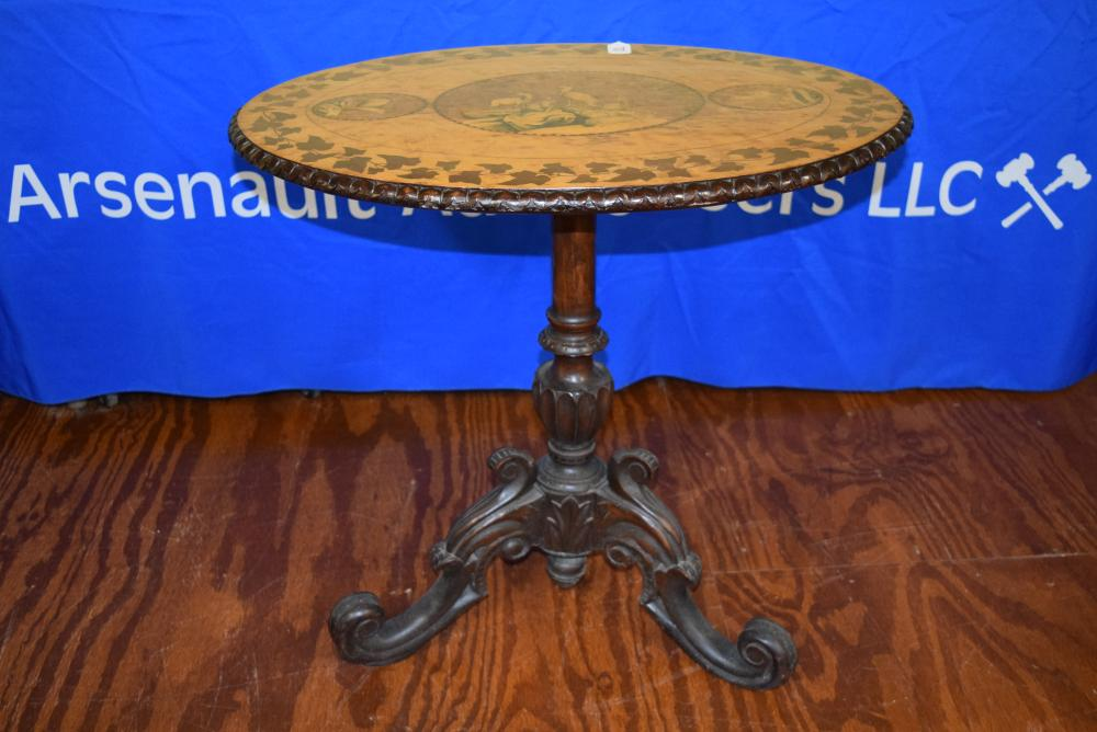 Antique Inlay Flip Top Table