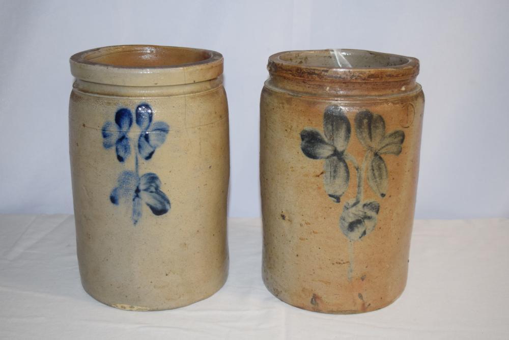 Pair of Blue Decorated Stoneware Crocks