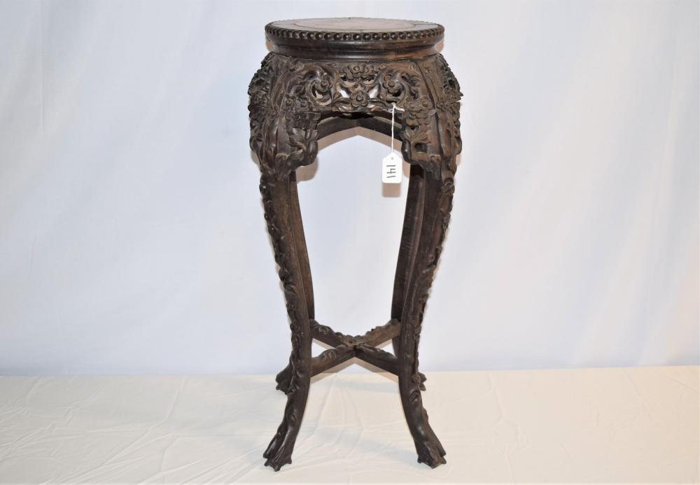 Antique Oriental Marble Top Plant Stand