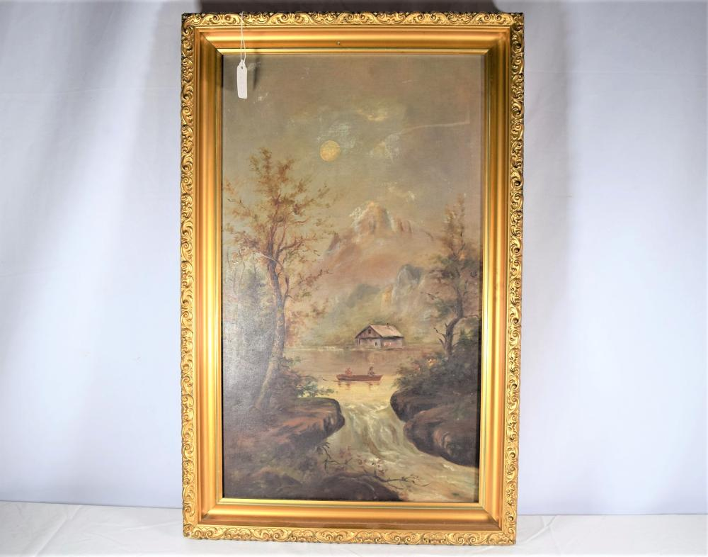 Oil on Canvas in Gold Carved Frame