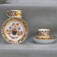 Pair of English Japan Pattern Spode Cans and Saucers, Ca. 1820