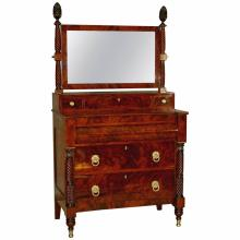 Rare Neo-Classical New York  Bureau with Dressing Mirror, circa 1820