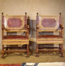 Antique Baroque Style Large Arm Chairs, Ca. 1890