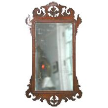 George III Walnut Mirror with Unusual Decorative Details