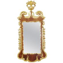 George II Walnut and Gilded Rococo Mirror