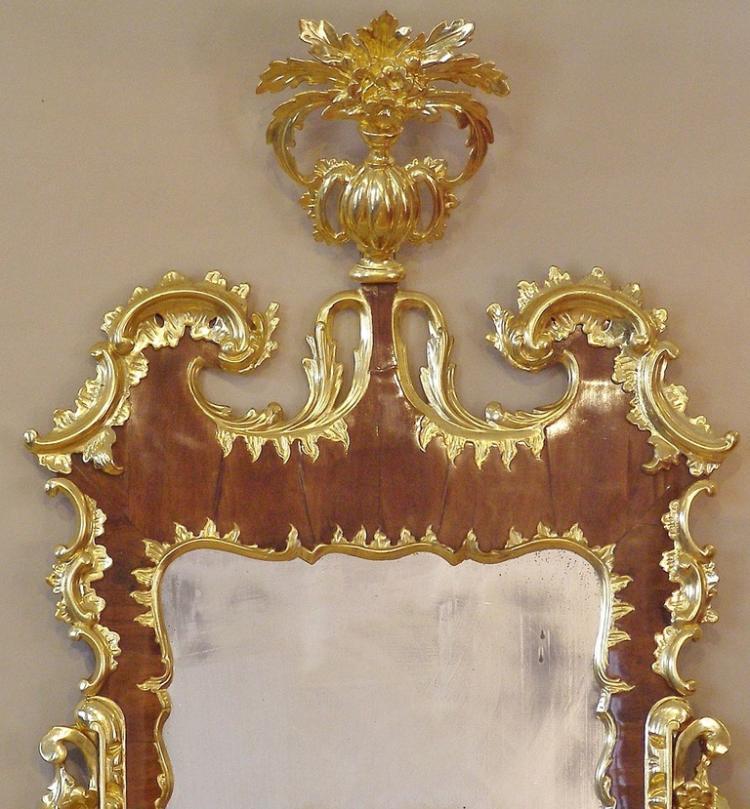 George Ii Walnut And Gilded Rococo Mirror
