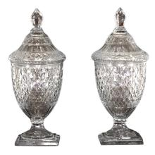 Pair of Crystal Anglo-Irish Covered Sweetmeat Jars, Early 19th Century