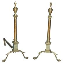 Tall Chippendale Style Brass Andirons