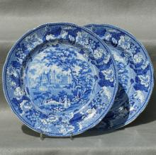 "Staffordshire ""Holyrood House, Edinburgh"" Pair of Dinner Plates, Ca. 1840"