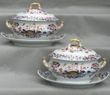 Pair of Spode Soup Tureens W/ Platters, England,  Ca. 1840