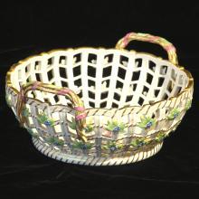 English Porcelain Floral Decorated Fruit Basket, Ca. 1800