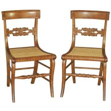 Pair of American Tiger Maple Neoclassical Side Chairs, Ca. 1820