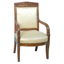 French Neo-Classical Brass Inlaid Armchair Ca. 1820