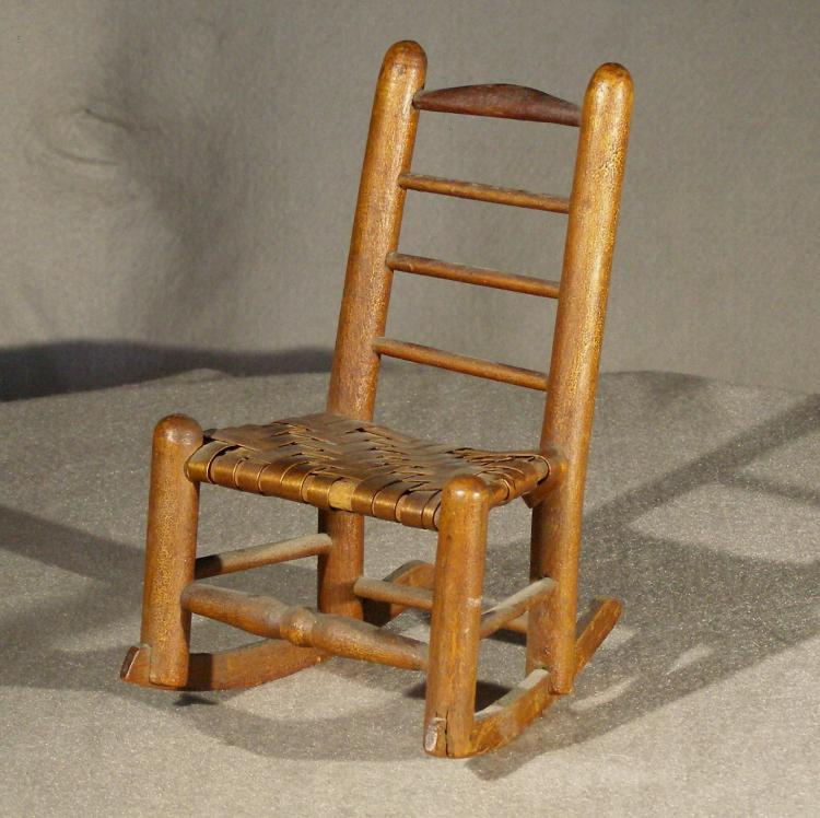 - Miniature Antique Ladder Back Rocking Chair