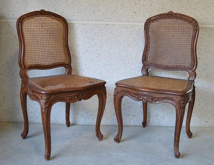 louis cresson paire de chaises cann es estampil. Black Bedroom Furniture Sets. Home Design Ideas