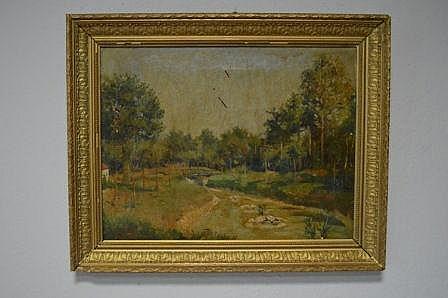 Adolf CHEVALIER , Paysage de rivière, signée en bas à gauche. 46x61,5 cm