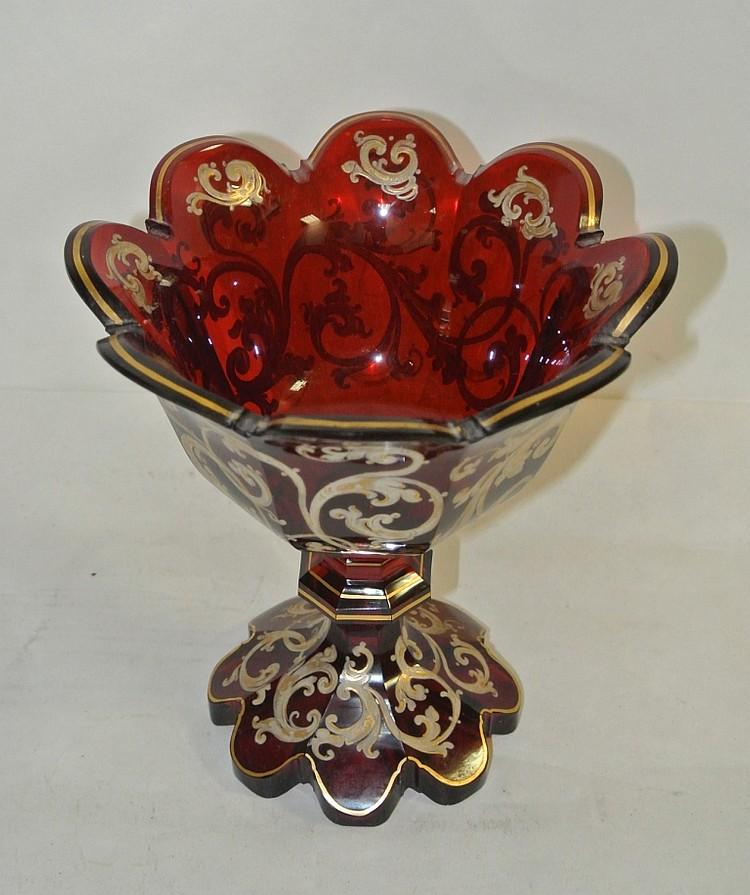 Vase overlay en verre rouge 17 x 15 cm - Decoration vase en verre ...