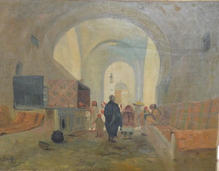 Théodore Charles BALKÉ (1875-1951) le souk nde tunis huile sur toile signé en bas à gauche  daté 190 60