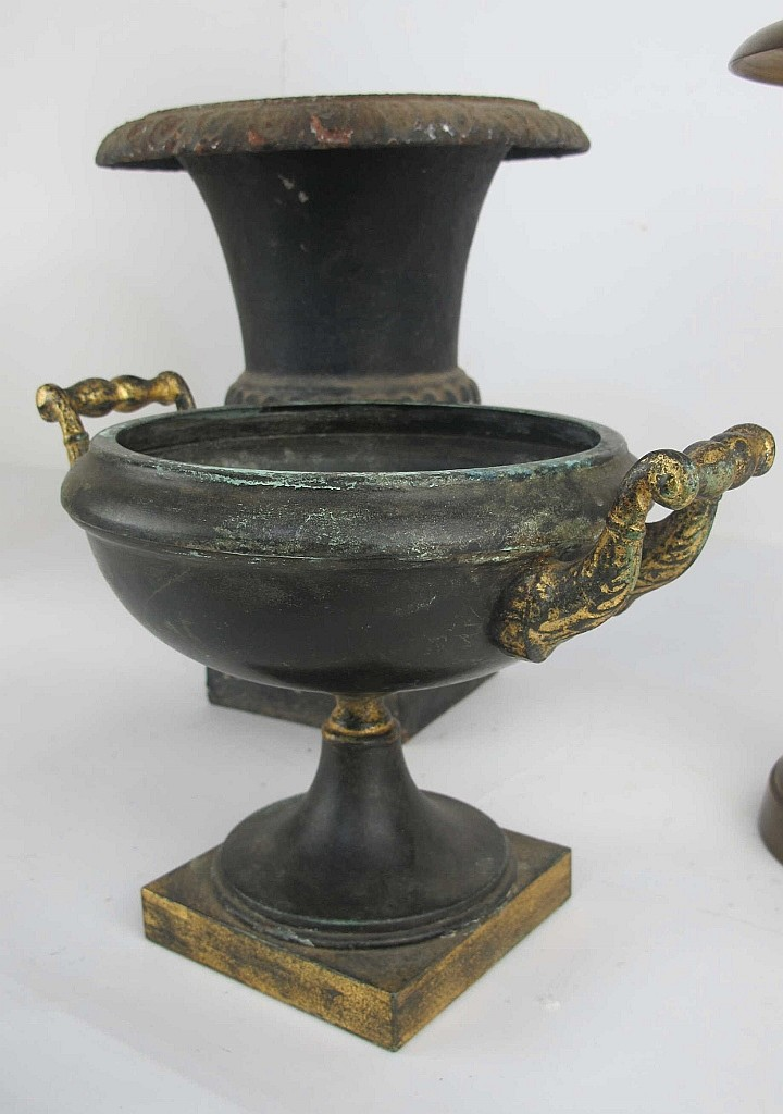 Collection Of Alabaster Bronze Iron Urns
