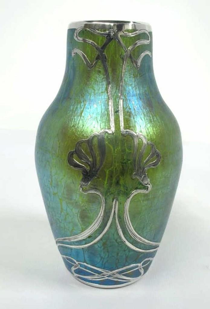 Loetz Art Glass Silver Overlay Vase