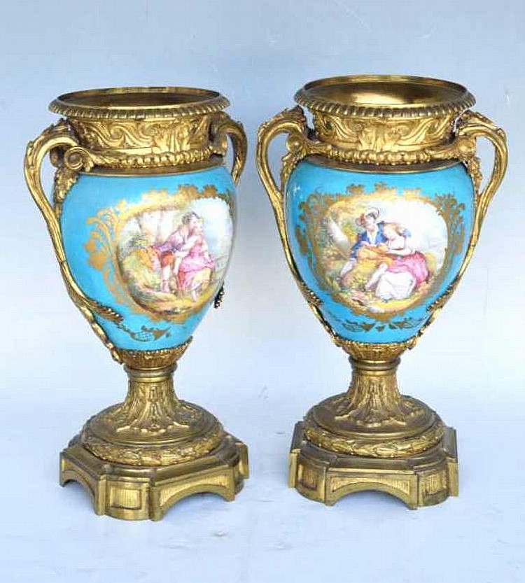 pair of sevres dore porcelain vases. Black Bedroom Furniture Sets. Home Design Ideas