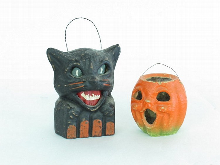 Vintage halloween cat lantern Vintage halloween decorations uk